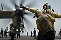 Flickr - Official U.S. Navy Imagery - Aviation boatswain's mates (handling) direct an E-2C Hawkeye aboard USS Carl Vinson.jpg