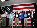 Florida Democratic Party candidates standing together during a rally in Tampa, Florida.jpg