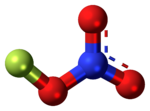 Ball-and-stick model of the fluorine nitrate molecule
