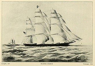 Flying Cloud (clipper) - Drawing of Flying Cloud from a 1913 book on clipper ships