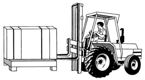 Line art drawing of a forklift
