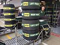 Formula One tires with tire warmers 2013 Britain.jpg