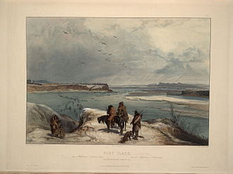 Fort Clark on the Missouri in February 1834, painted by Karl Bodmer Fort Clack on the Missouri february 1834 0048v.jpg