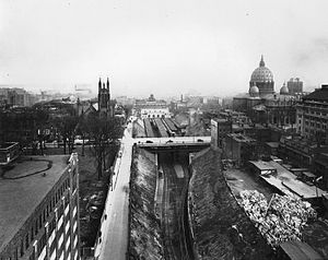 Montreal Central Station - The trench of the Canadian National Railway near Dorchester Street in 1930.