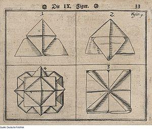 Napkin folding - An illustration of napkin folding published in 1657