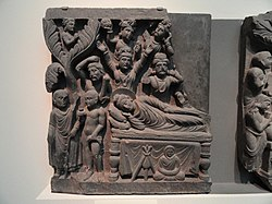 Four Scenes from the Life of the Buddha - Parinirvana - Kushan dynasty, late 2nd to early 3rd century AD, Gandhara, schist - Freer Gallery of Art - DSC05119.JPG