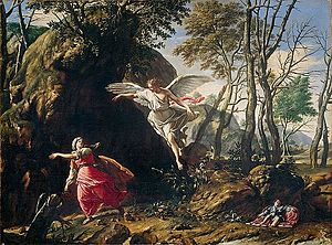 Hagar -  Hagar and the Angel in the Wilderness, by Francesco Cozza