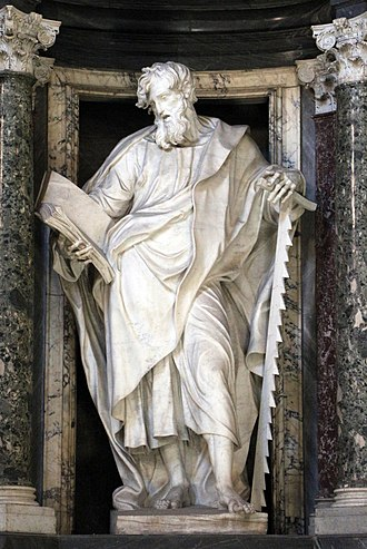 Simon the Zealot - Statue of St. Simon in the Archbasilica of St. John Lateran by Francesco Moratti.