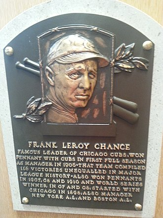 Frank Chance - Chance's Baseball Hall of Fame plaque