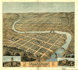 Frankfort, Kentucky - Downtown Frankfort is seen in the foreground, while South Frankfort lies across the river in the background. Fort Hill is in the lower left hand corner, 1871.