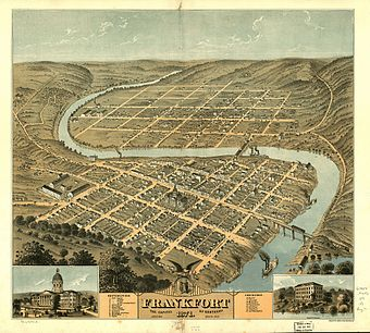 Downtown Frankfort is seen in the foreground, while South Frankfort lies across the river in the background. Fort Hill is in the lower left hand corner, 1871. Frankfort bird eye.jpg