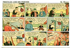 Freckles and His Friends - Merrill Blosser's Freckles and His Friends (September 8, 1935). Freckles does not appear in this installment. The young character seen here is Oscar.