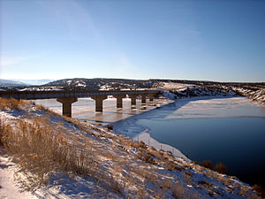 Uintah Basin - Freedom Bridge over Starvation Reservoir on U.S. Route 40 in Duchesne County, Utah.