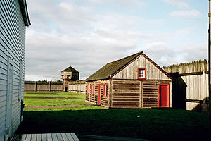 Fort Vancouver - The modern reconstruction, showing the outer palisade and the single corner tower