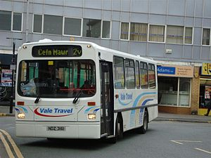 Dennis Dart - GHA Coaches c. 1993 Wright Handybus bodied Dennis Dart in Wrexham in March 2009