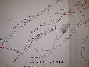 Line of Property - Fragment of Guy Johnson's map of the Line of Property 1768; section centered at Burnetts Hills