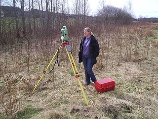 Total station instrument used in surveying and building construction; an electronic theodolite integrated with an electronic distance meter