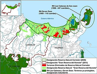 "Northeast Ecological Corridor - The Grand Northeast Ecological Reserve Special Planning Area. Proponents argued that this plan would protect a wider area in order to maintain connectivity with El Yunque National Forest. Detractors stated that while some of the ""newly protected areas"" already enjoyed protected status, were flood-prone, or already constructed, on the other hand 437 acres (177 hectares) would have their protected status rescinded."