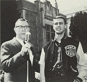 UCLA Bruins men's basketball retired numbers - Gail Goodrich with John Wooden in 1965.
