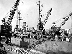 USS Montauk (LSV-6) - USS Galilea at the Charleston Naval Shipyard, 17 February 1947. The yard is preparing the ship for inactivation following cancellation of her conversion to a net cargo ship in December 1946. There is little evidence of the conversion in this photo as most of the alterations were at the stern or inside the ship.