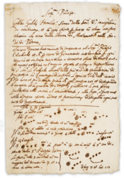 A page from Galileo's published discovery of the moons, which appeared in Sidereus Nuncius in March 1610.