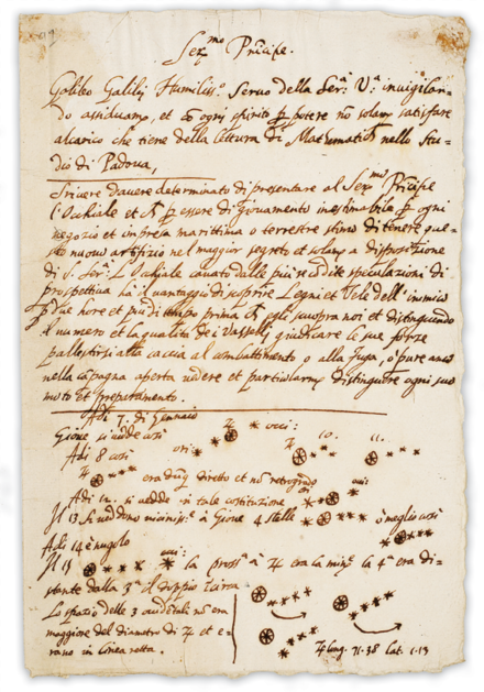 It was on this page that Galileo first noted an observation of the moons of Jupiter. This observation upset the notion that all celestial bodies must revolve around the Earth. Galileo published a full description in Sidereus Nuncius in March 1610 Galileo manuscript.png