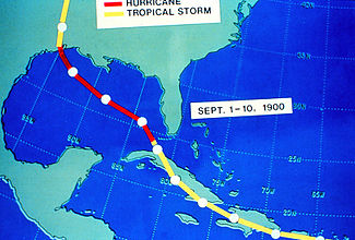 An alternative style track map focusing on the storm's path from September 1-10.