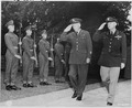 """Gen. George C. Marshall, U. S. Army Chief of Staff, and Gen. Henry """"Hap"""" Arnold, Commanding General, U. S. Army Air... - NARA - 198960.tif"""