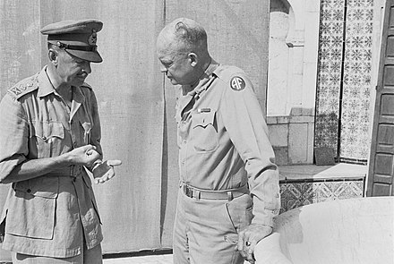 General Alexander, Deputy Commander in Chief Allied Forces in North Africa, discussing operations for Tunisia with the Supreme Commander, General Eisenhower General Alexander, Deputy Commander-in-Chief Allied Forces in North Africa, discussing future operations with the Supreme Commander, General Eisenhower, in Tunisia, 26 July 1943. CNA1074.jpg