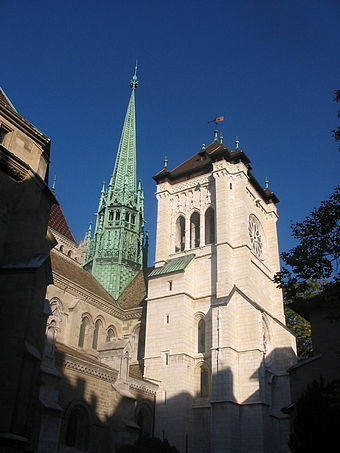 Calvin preached at St. Pierre Cathedral, the main church in Geneva. Geneva Cathedral.jpg
