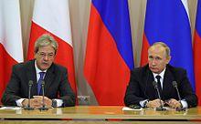 Paolo Gentiloni con il presidente russo Vladimir Putin nel 2017