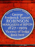 George Frederick Samuel Robinson Marquess of Ripon 1827-1909 Viceroy of India lived here.jpg