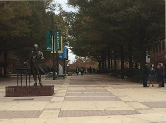 George Mason - George Mason University, Fairfax, Virginia, in 2015, with the statue of Mason