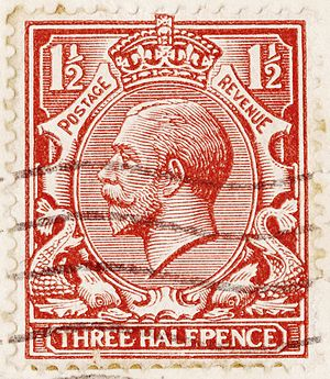 Bertram Mackennal - British 1½d stamp of 1912 with the Mackennal portrait of King George V.
