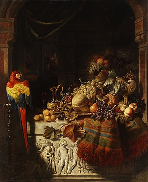 George Lance - Still life with fruits and parrot