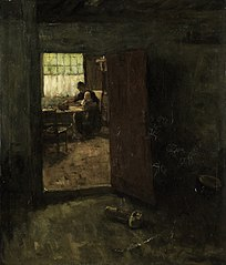 Domestic Interior with Country Woman and Child