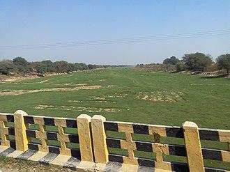 Ghaggar-Hakra River - Ghaggar river dry bed in February month near Naurangdesar village, Hanumangarh district, Rajasthan, India.
