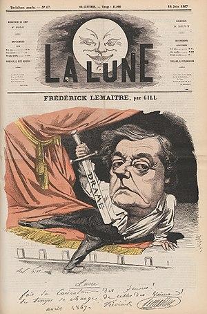 Frédérick Lemaître - Lemaître caricatured by André Gill, 1867.