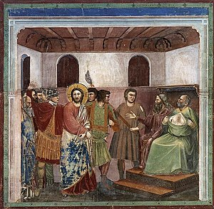 Giotto di Bondone - No. 32 Scenes from the Life of Christ - 16. Christ before Caiaphas - WGA09217.jpg