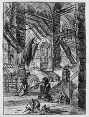 Le Carceri d'Invenzione, plate VIII: The Staircase with Trophies