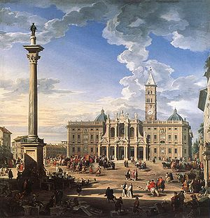 Marian and Holy Trinity columns - The Marian column in front of the Basilica di Santa Maria Maggiore in Rome.