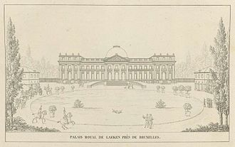 Castle of Laeken - Engraving of the Royal Castle from Pierre-Jacques Goetghebuer's Choix des monuments (1827)