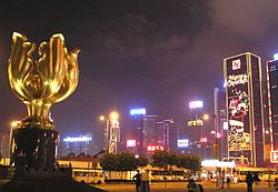 The Golden Bauhinia Square at night