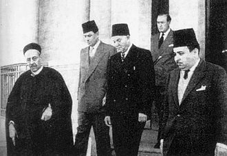 Cyrenaica - Emir Idris as-Senussi (left), and behind him (from left) Hussein Maziq, Muhammad Sakizli and Mustafa Ben Halim, formed the government of Cyrenaica in late 1940s
