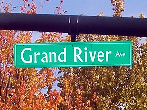 U.S. Route 16 in Michigan - Grand River Avenue sign in East Lansing