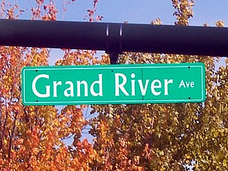 U.S. Route 16 in Michigan - Grand River Avenue sign in East Lansing