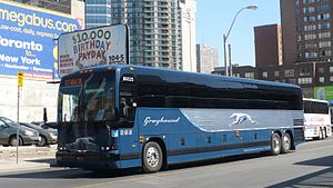 FirstGroup - Greyhound Prevost coach at Toronto Coach Terminal in April 2009