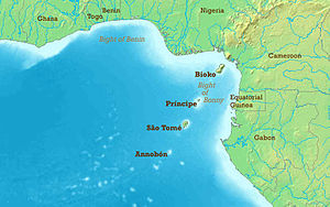 Gulf of Guinea - Gulf of Guinea map showing the chain of islands formed by the Cameroon line of volcanoes.