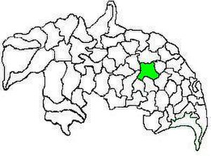 Guntur mandal - Mandal map of Guntur district showing   Guntur mandal (in green)