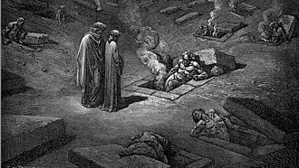 Heresiarch - In this Gustave Dore engraving, Dante and Virgil speak to a Heresiarch trapped within a burning tomb.  Dante placed arch-heretics in the Sixth Circle of Hell.